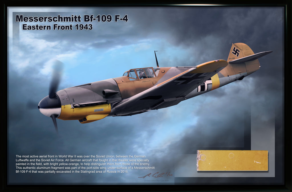 Luftwaffe Messerschmitt BF 109 F-4 Russian Front Yellow Wing Relic Display