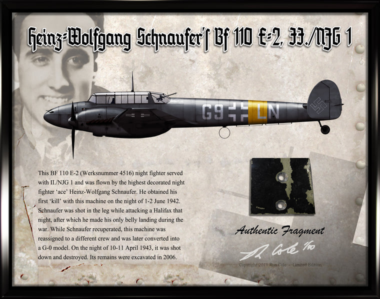 Luftwaffe Messerschmitt Bf 110 Heinz-Wolfgang Schnaufer Small Relic Display