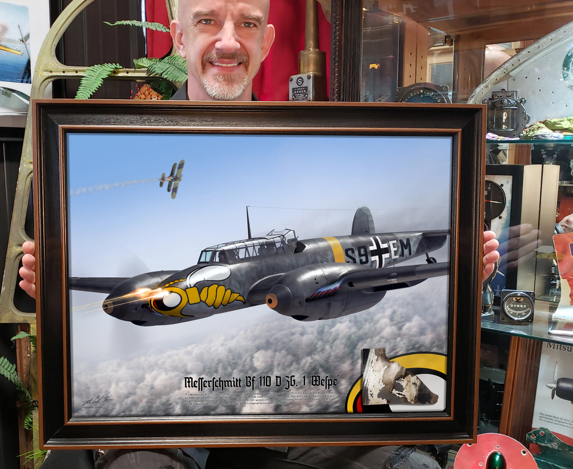 Special Messerschmitt Bf 110 D ZG.1 'Wespe' Nose Art 24x18 Relic Display
