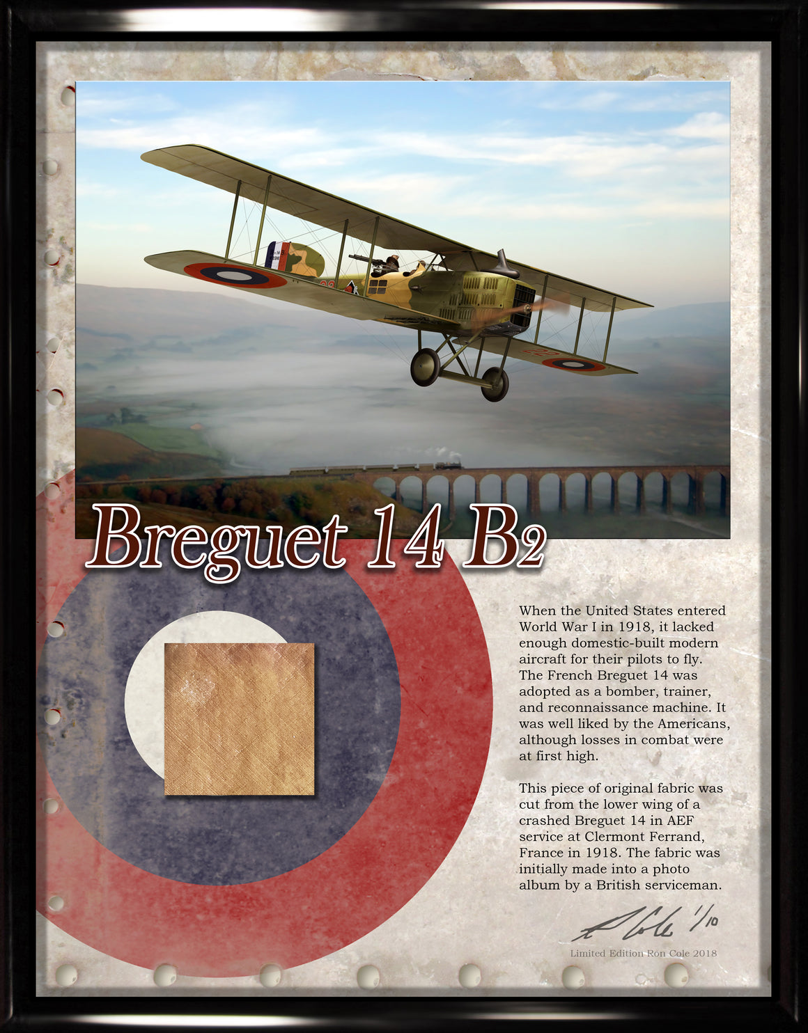 American Air Corps (AEF) Breguet 14 Original Fabric Relic Display