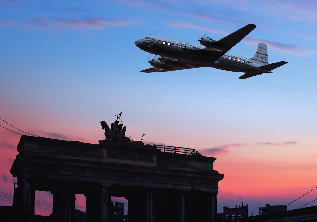 Pan Am Douglas DC-6 over the Brandenburg Gate - Cole's Aircraft - 1