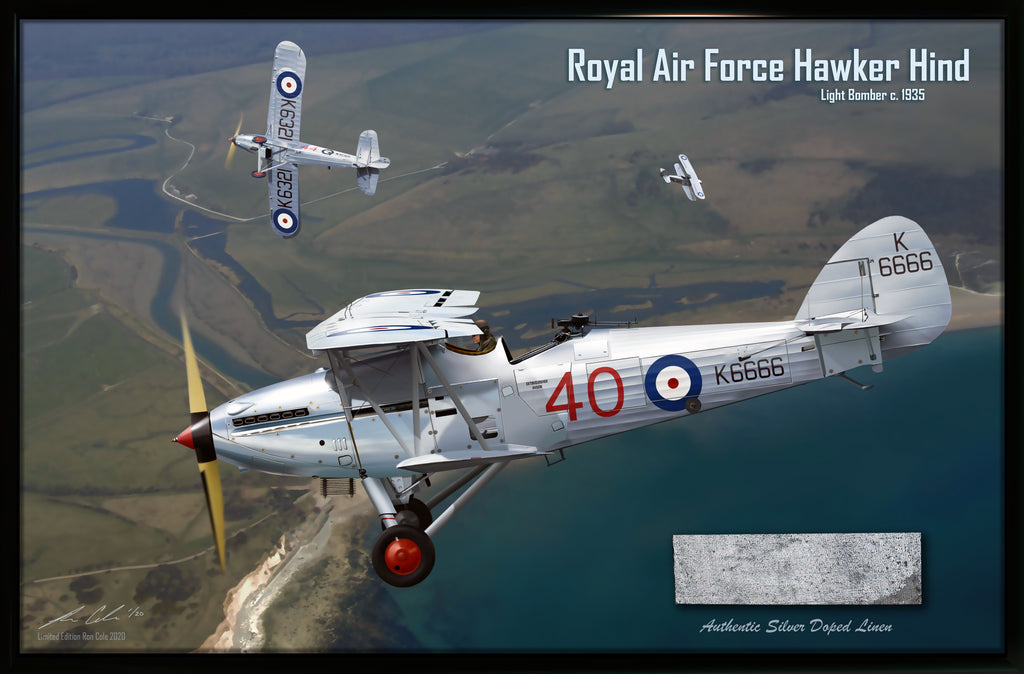 RAF Hawker Hind Silver Doped Fabric Relic Display