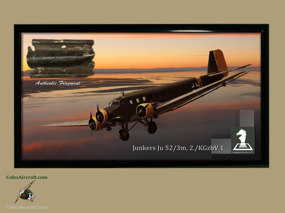 Luftwaffe Junkers Ju 52 Relic Display - Corrugated Metal, Crete Invasion - Cole's Aircraft