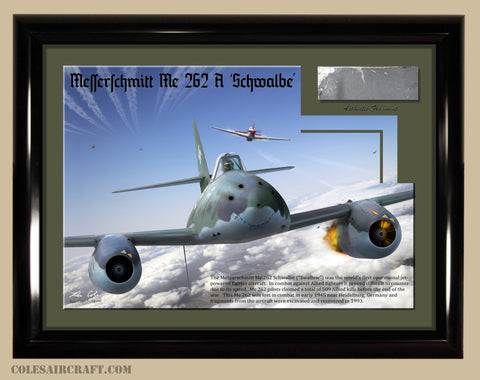Luftwaffe Me 262 Jet Fighter Relic Display 8 x 10 - Cole's Aircraft