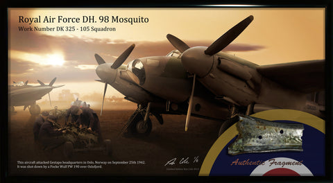 RAF DH. 98 Mosquito 1942 Norway Combat Loss Relic Display - Cole's Aircraft