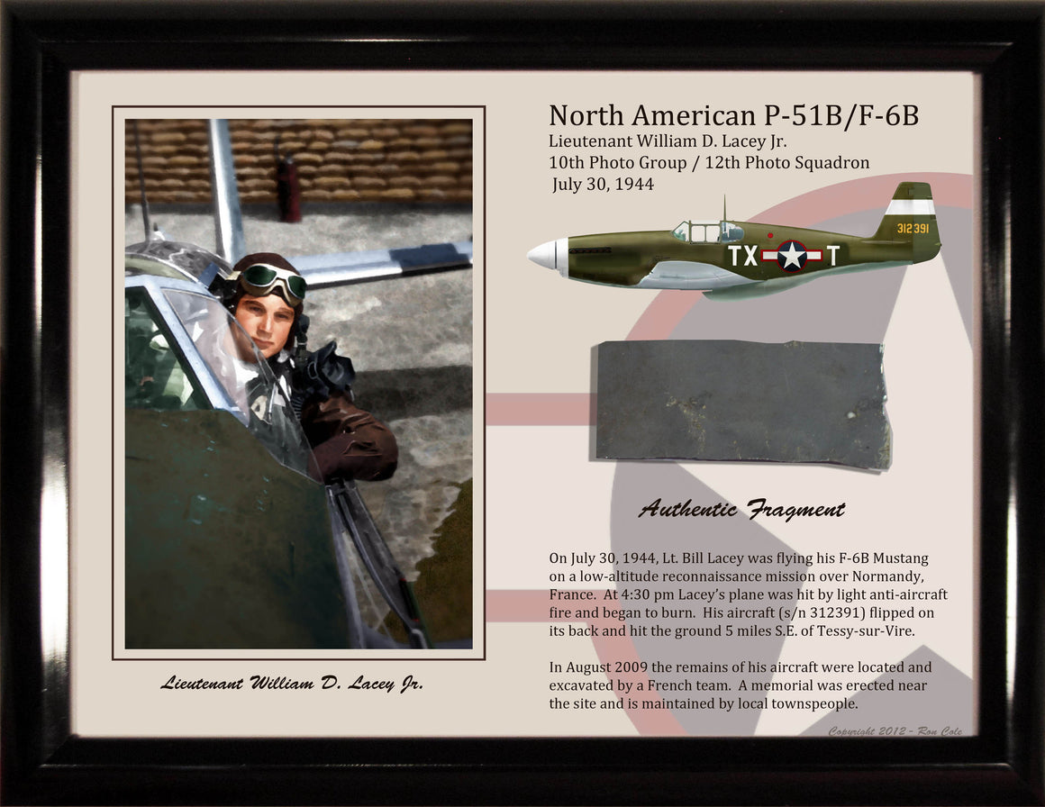 P-51B Mustang Lt. W. Lacey Authentic Relic Display - Cole's Aircraft