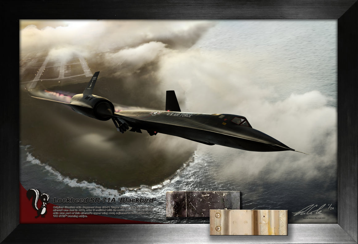 Special Lockheed SR-71 Blackbird 'Super Skater' Black Titanium Skin Relic Display 11x17