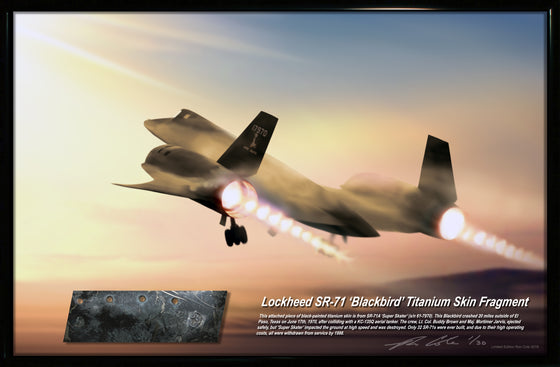 Lockheed SR-71 Blackbird 'Super Skater' Black Titanium Skin Relic Display 11x17