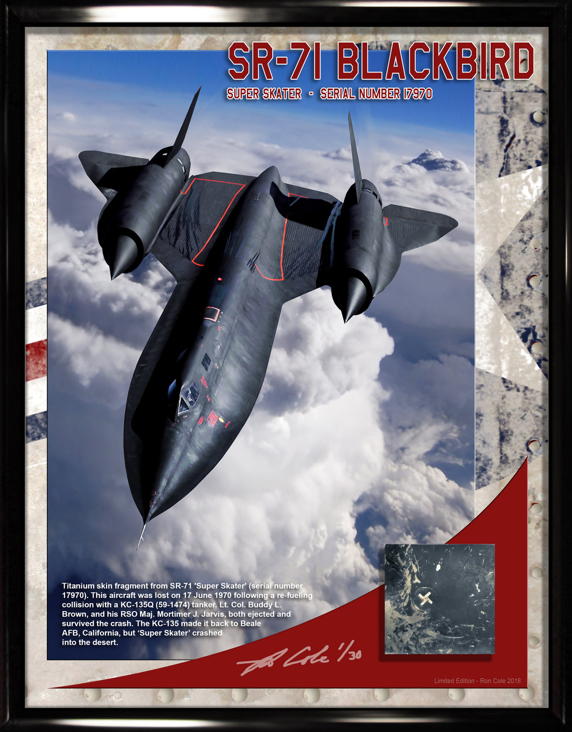Lockheed SR-71 Blackbird Titanium Relic Display 8.5x11