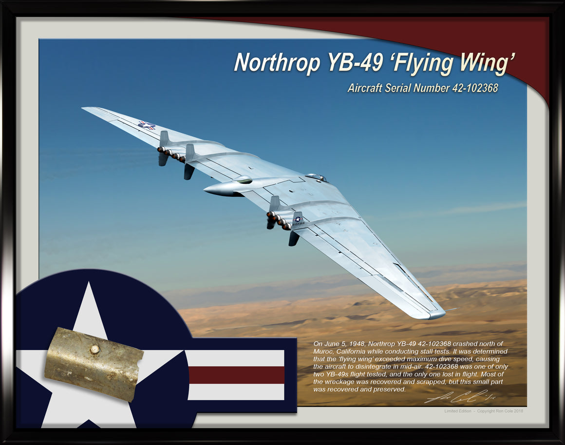 Northrop YB-49 'Flying Wing' Aircraft Aluminum Relic Display