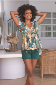 Jaase Ella Top - Enchanted Forest Print