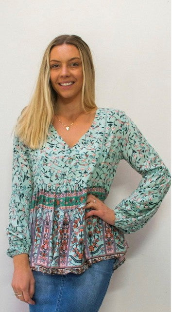 Grace & Co Button Front Border Boho Top