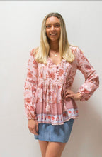 Load image into Gallery viewer, Miracle Fashion Gingham Border Button Front Boho Top