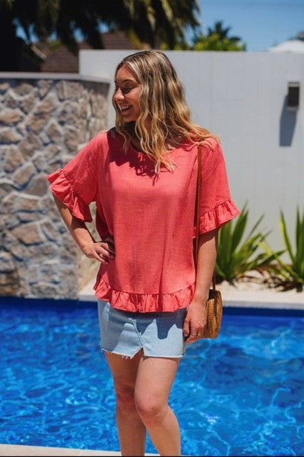 Miracle Fashion Button Back Linen Ruffle Top