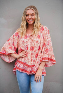 Miracle Fashion Tie Front Poppy Fields Navaho Top