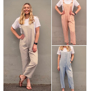 Miracle Fashion Linen Button Shoulder Pocket Jumpsuit