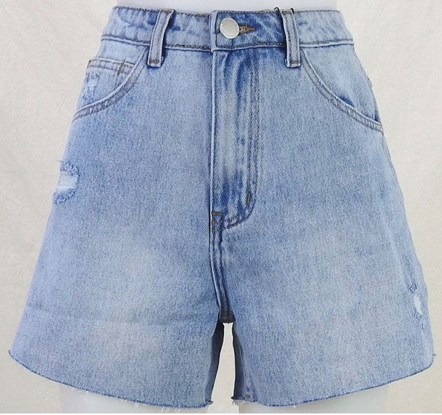 Country Denim Loose Fitting Raw Hem Shorts