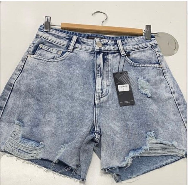 Country Denim Vintage Acid Wash Long Shorts