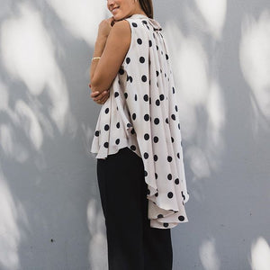 White Closet Hi-Lo Blouse - Light Grey with Black Spots