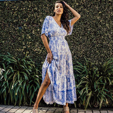 Load image into Gallery viewer, White Closet Maxi Dress - Blue Veronika