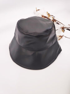 Angels Whisper 'Hazel' Leather Look Bucket Hat - Black