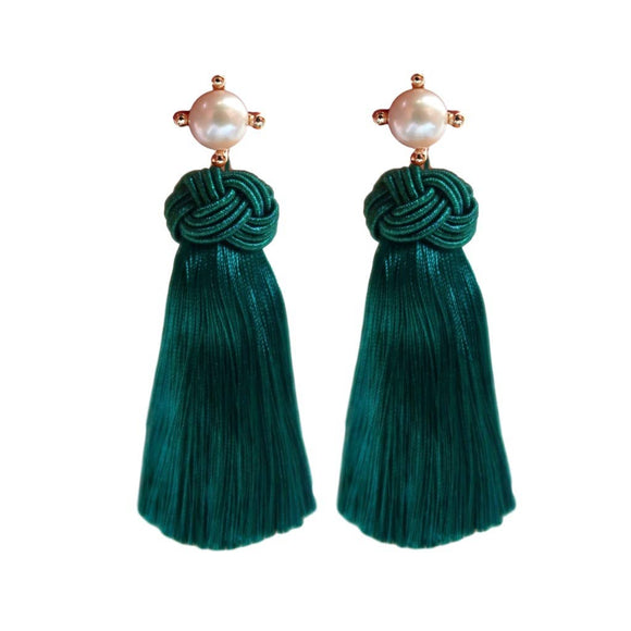 Emerald Pearl Tassel Earrings