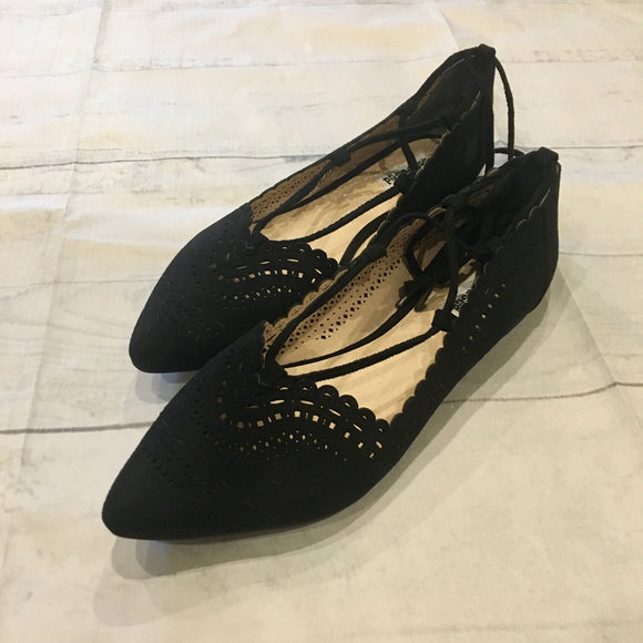 Lace Up Ballerina Flat - Black