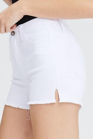 High Rise in White Shorts