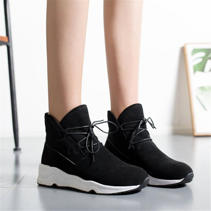 Women Casual Wedge Heel Warm Sneakers Lace-up Shoes