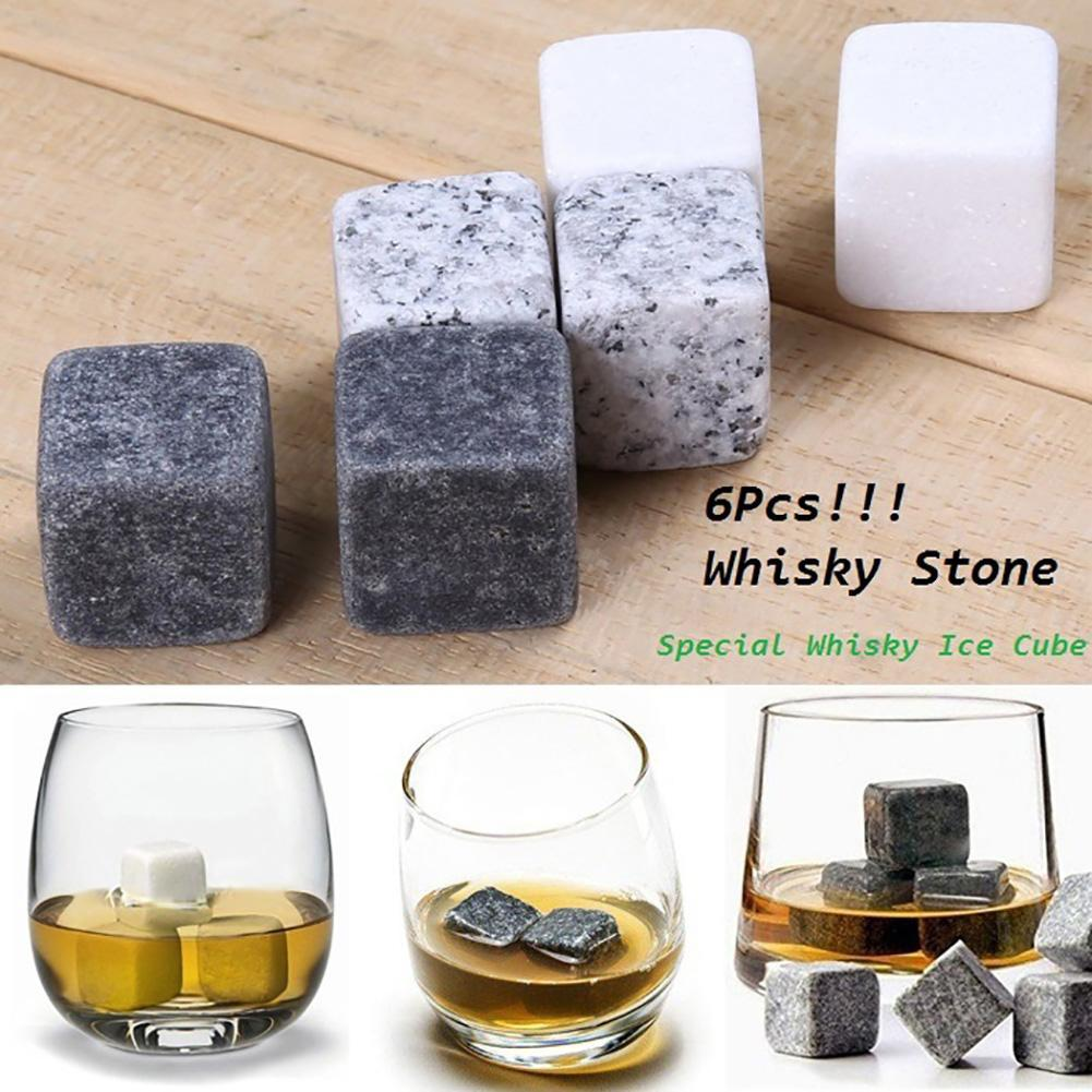 6Pcs Marble Cubes Whiskey Drinks Chilling Ice Stone Bar Cocktail Accessories  Wedding cooling drinks Ice Bags