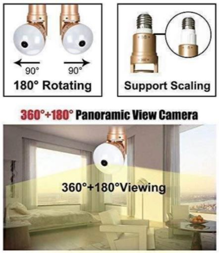 light bulb wifi security camera-360 panorama wifi fish-eye spy