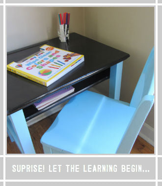 child's desk complete installed