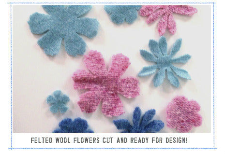 cut felted wool flowers