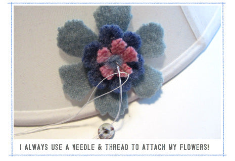 sewing felted flowers