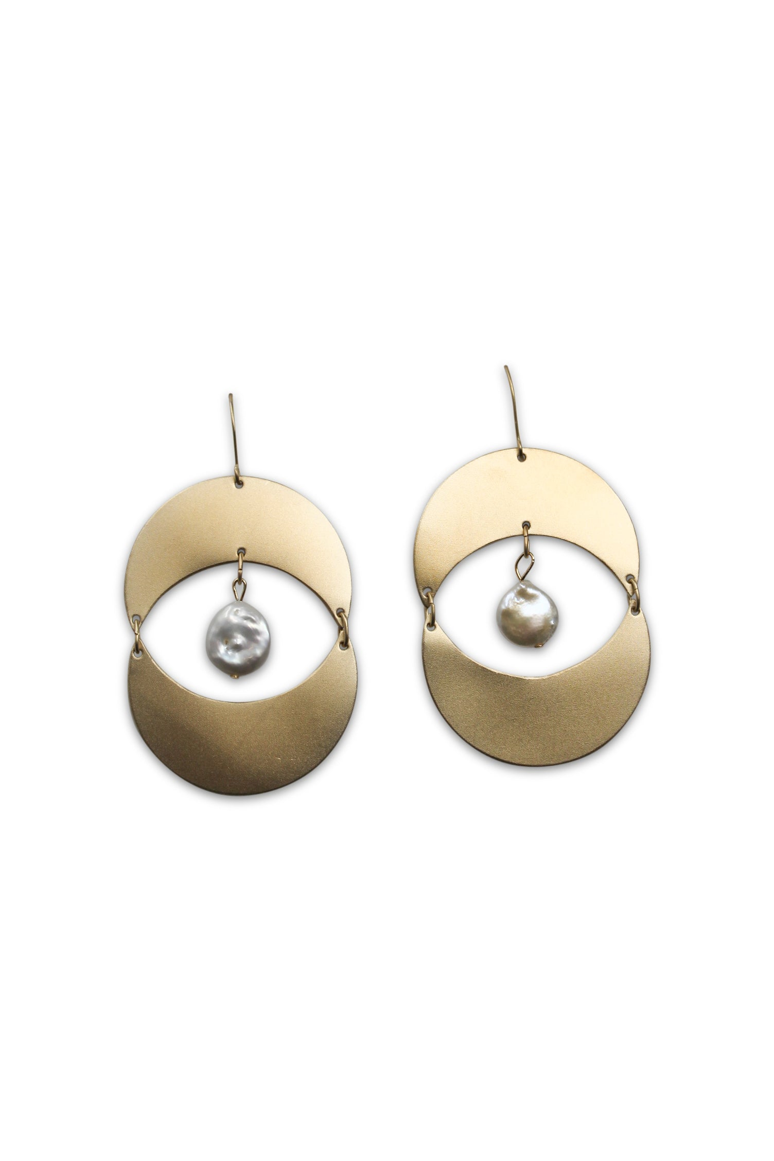 Crescent & Pearl Earrings