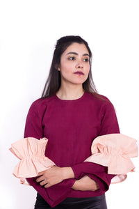 TWO-TONED RUFFLE TOP
