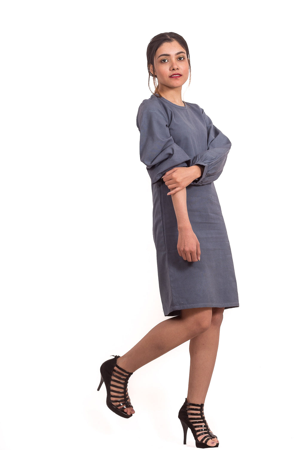 CLASSIC GREY FULL SLEEVES DRESS