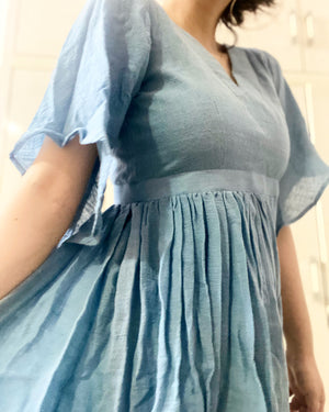 Half and Half Blue flare dress