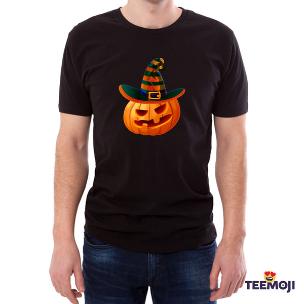 Teemoji Halloween Pumpkin With Hat Black