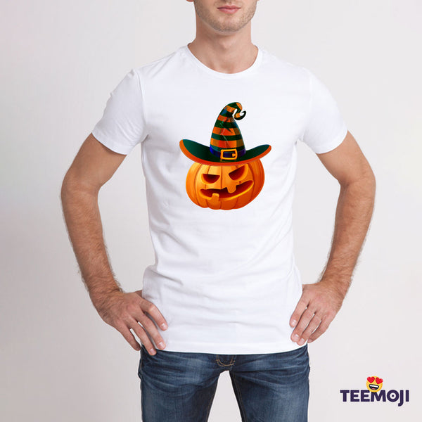 Teemoji Halloween Pumpkin With Hat White