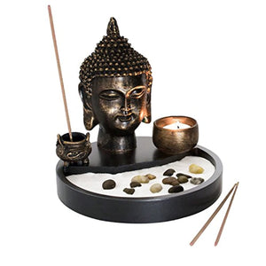 Buddha Head Statue Tabletop Zen Garden Kit with Incense Burner and Tealight Candle Holder