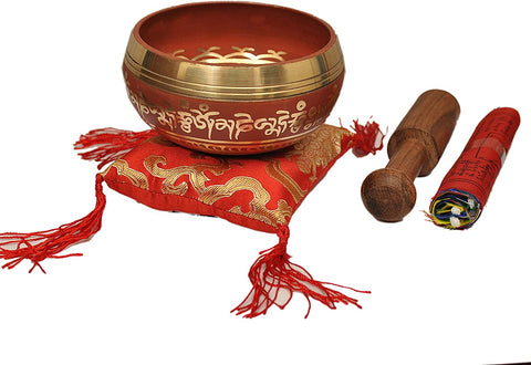 Tibetan Buddhist Prayer Flag Singing Bowl  Red