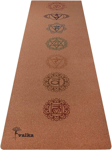 Chakra Cork Yoga Mat Non Slip & Eco Friendly (4mm Thick)