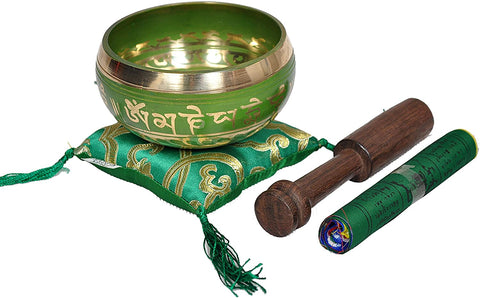 Tibetan Buddhist Prayer Flag Singing Bowl  Green