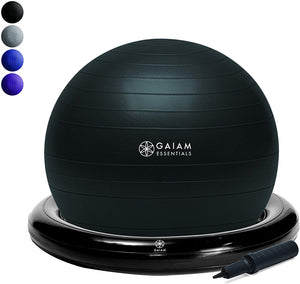 Yoga Ball Chair w/ Inflatable Ring Base  Black