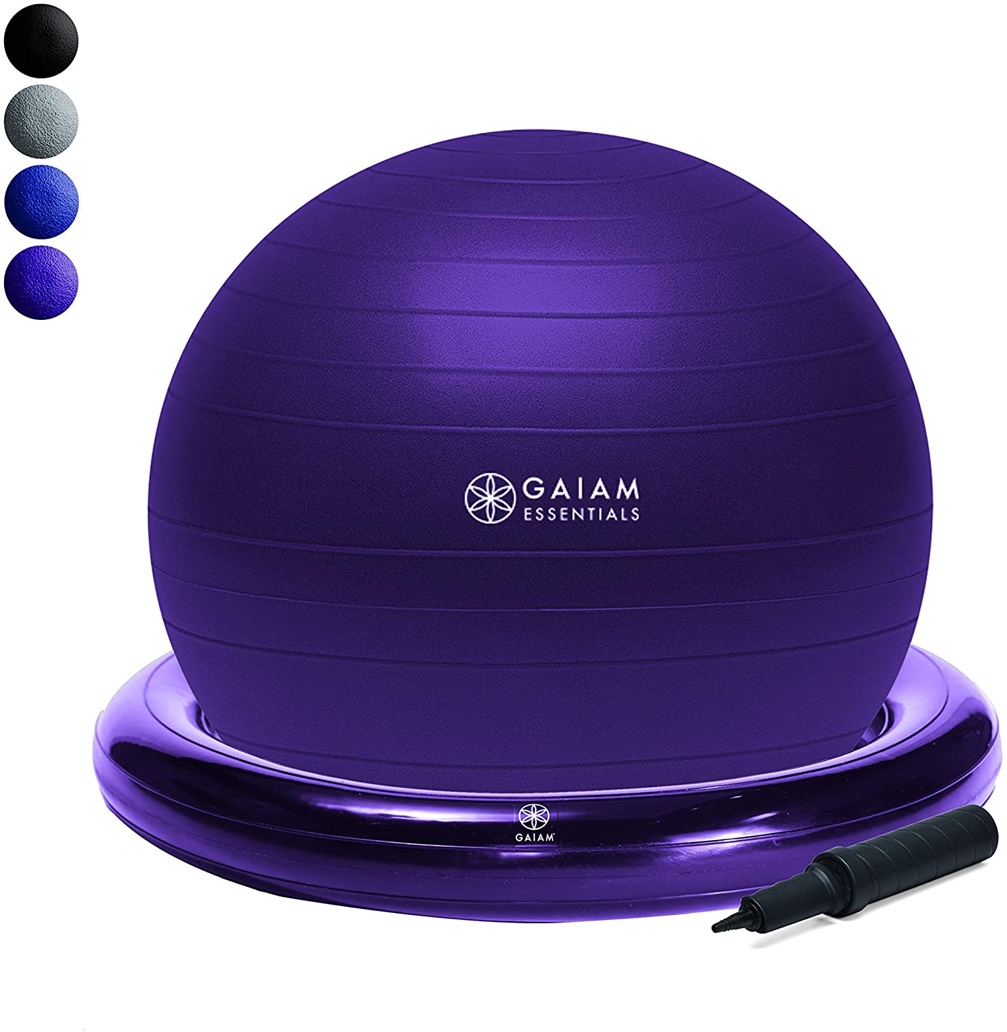 Yoga Ball Chair w/ Inflatable Ring Base  Purple