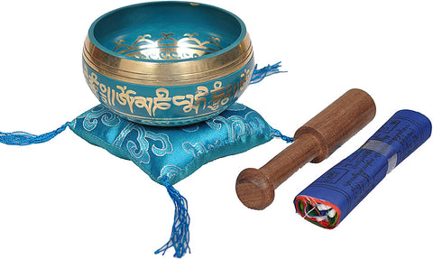 Tibetan Buddhist Prayer Flag Singing Bowl  Turquoise