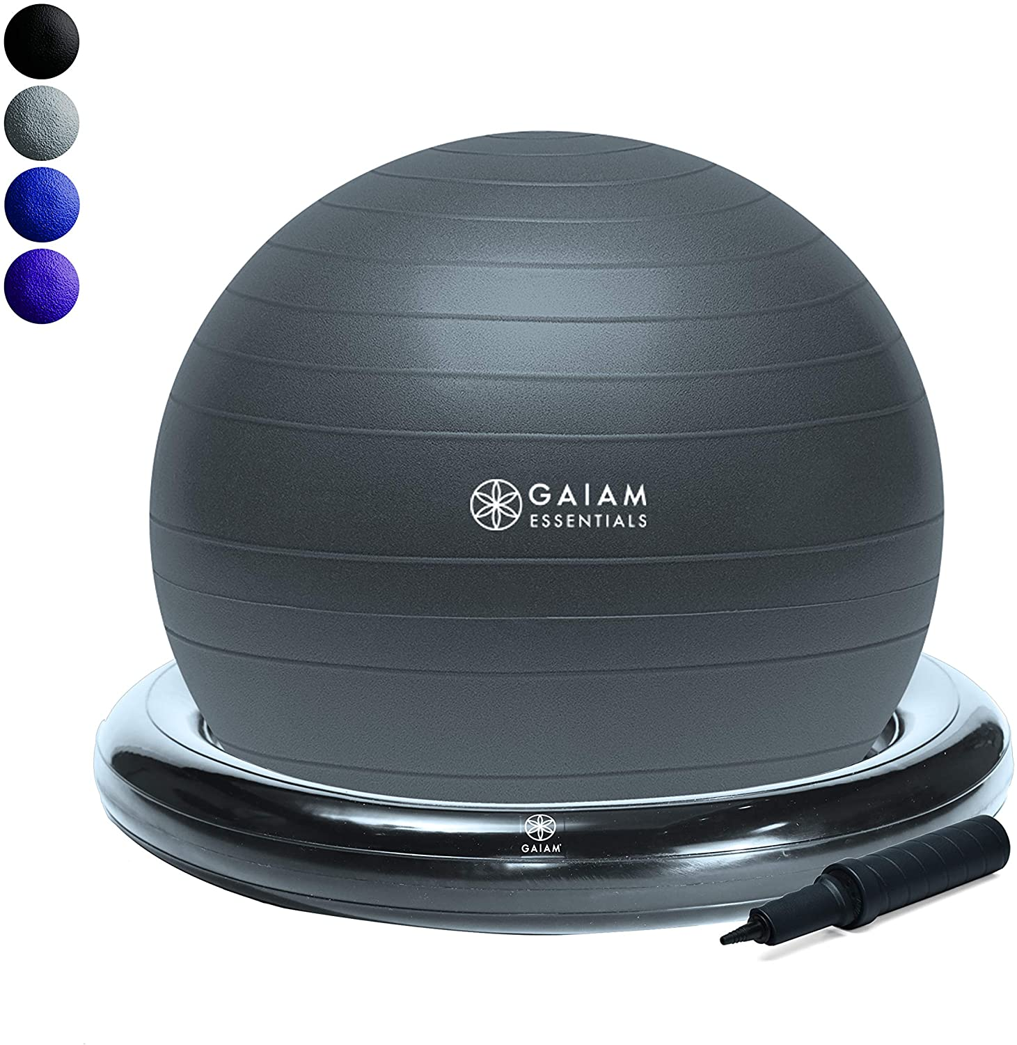 Yoga Ball Chair w/ Inflatable Ring Base  Grey