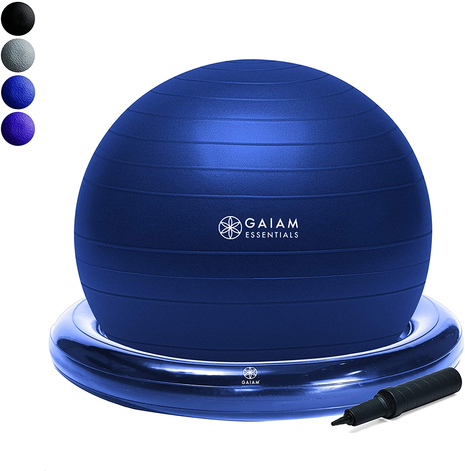 Yoga Ball Chair w/ Inflatable Ring Base  Navy