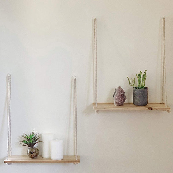 Hanging Wooden  Plant Shelf